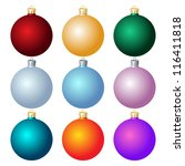 Set Of Christmas Balls On Whit...