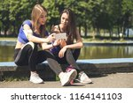 young attractive fitness girls...   Shutterstock . vector #1164141103