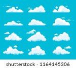 vector set of cartoon clouds... | Shutterstock .eps vector #1164145306