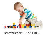 Kid Boy Playing Toy Blocks ...