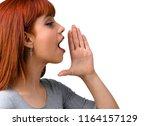 young redhead girl shouting... | Shutterstock . vector #1164157129
