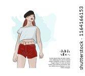 beautiful woman glamour... | Shutterstock .eps vector #1164166153