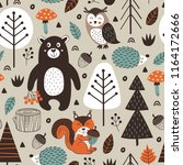 seamless pattern with forest... | Shutterstock .eps vector #1164172666
