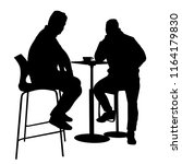 two mans silhouette sitting at... | Shutterstock .eps vector #1164179830