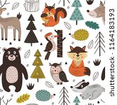 seamless pattern with forest... | Shutterstock .eps vector #1164183193