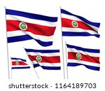 costa rica vector flags set. 5... | Shutterstock .eps vector #1164189703