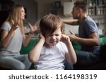frustrated kid son puts fingers ... | Shutterstock . vector #1164198319