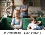 frustrated kid girl feels upset ... | Shutterstock . vector #1164198346