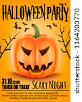 poster for halloween party... | Shutterstock .eps vector #1164203770
