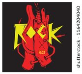 vector illustration guitar and... | Shutterstock .eps vector #1164204040