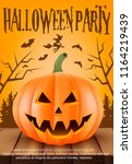 poster for halloween party...   Shutterstock .eps vector #1164219439