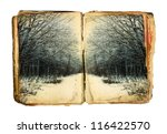 Old Book With Winter Forest On...