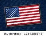 usa flag on jeans fabric.... | Shutterstock .eps vector #1164255946