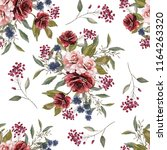 seamless pattern with flowers... | Shutterstock . vector #1164263320