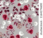 seamless pattern with flowers... | Shutterstock . vector #1164274600