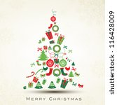 beautiful xmas tree for merry... | Shutterstock .eps vector #116428009