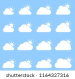 mostly cloudy icon on blue...