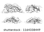 hand drawn rural scene with... | Shutterstock .eps vector #1164338449