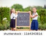 happy little schoolgirls with a ... | Shutterstock . vector #1164343816