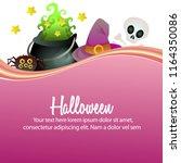 happy halloween witch pot hat... | Shutterstock .eps vector #1164350086