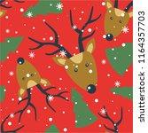 seamless pattern  deers  fir... | Shutterstock .eps vector #1164357703