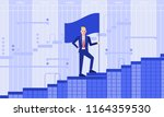 milestone businessman with flag ... | Shutterstock .eps vector #1164359530