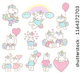 set of hand drawn cute unicorn  ... | Shutterstock .eps vector #1164372703