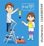 gravity science experiment kids ... | Shutterstock .eps vector #1164385549