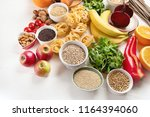 foods high in carbohydrates.... | Shutterstock . vector #1164394060