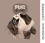 adorable pug with a bow on a... | Shutterstock .eps vector #1164449656