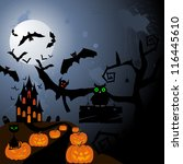 happy halloween theme greeting... | Shutterstock . vector #116445610