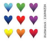 colour hearts isolated on white | Shutterstock .eps vector #116446534