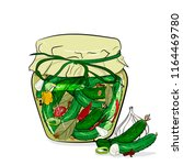 preserved cucumbers in a glass... | Shutterstock .eps vector #1164469780