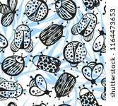 cartoon seamless pattern with... | Shutterstock .eps vector #1164473653