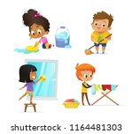 collection of children doing... | Shutterstock .eps vector #1164481303