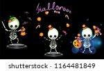 kid halloween skeleton magician ...   Shutterstock .eps vector #1164481849
