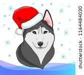 husky in the new year's cap   Shutterstock .eps vector #1164484030