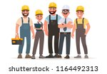 industrial workers. team of... | Shutterstock .eps vector #1164492313
