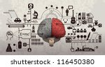 left and right brain functions  ... | Shutterstock .eps vector #116450380