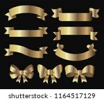 golden ribbon banner and bow... | Shutterstock .eps vector #1164517129