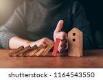home insurance ideas concept... | Shutterstock . vector #1164543550