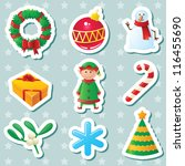 cute christmas stickers set | Shutterstock .eps vector #116455690