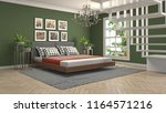 bedroom interior. 3d... | Shutterstock . vector #1164571216
