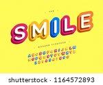 vector smile font 3d bold... | Shutterstock .eps vector #1164572893