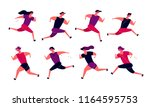 running people group in motion. ... | Shutterstock .eps vector #1164595753