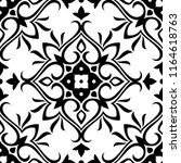 black and white seamless floral ... | Shutterstock .eps vector #1164618763