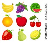 set of cute 9 color flat fruits ... | Shutterstock .eps vector #1164630523