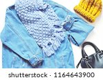 flat lay fashion outfit. fall... | Shutterstock . vector #1164643900