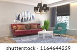 interior of the living room. 3d ... | Shutterstock . vector #1164644239