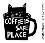 Stock vector black cat in coffee cup 1164646990
